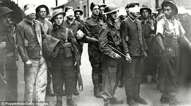 Tainted: Bindfolded German soldiers may have been forced into untrue admissions, it has been revealed