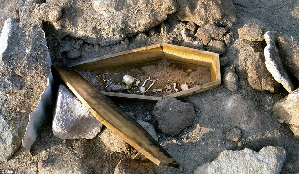 Abandonado: Un ataúd ráfaga que contiene huesos humanos está en el suelo árido en Humberstone.  El casco antiguo se encuentra en el desierto de Atacama de Chile, el más seco de la Tierra