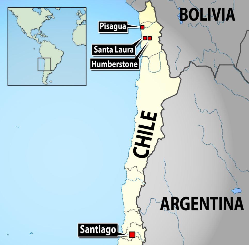 Mostrando la ciudad desierta de Humberstone en Chile Mapa