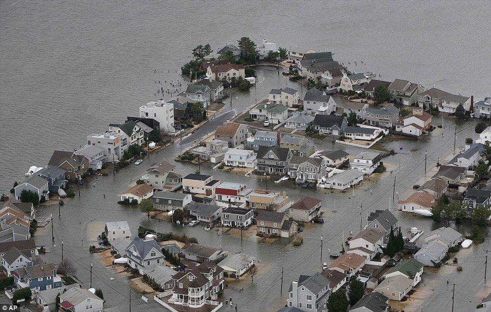 Water, water everywhere: An aerial view of flooding on the bay side of Seaside, New Jersey