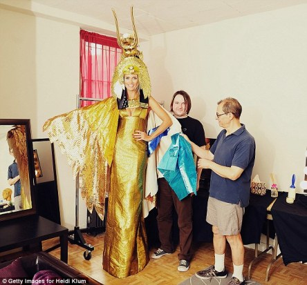 Waiting for Xmas: The German-born 39-year-old gave fans a sneak peek at her elegant Cleopatra costume last month on her website, posting a video of designer Martin Izquierdo fitting her