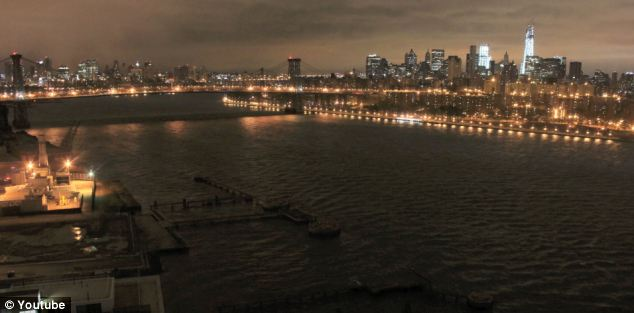 The unmistakable skyline of New York the night before Hurricane Sandy hit is shown at the opening of the timelapse video