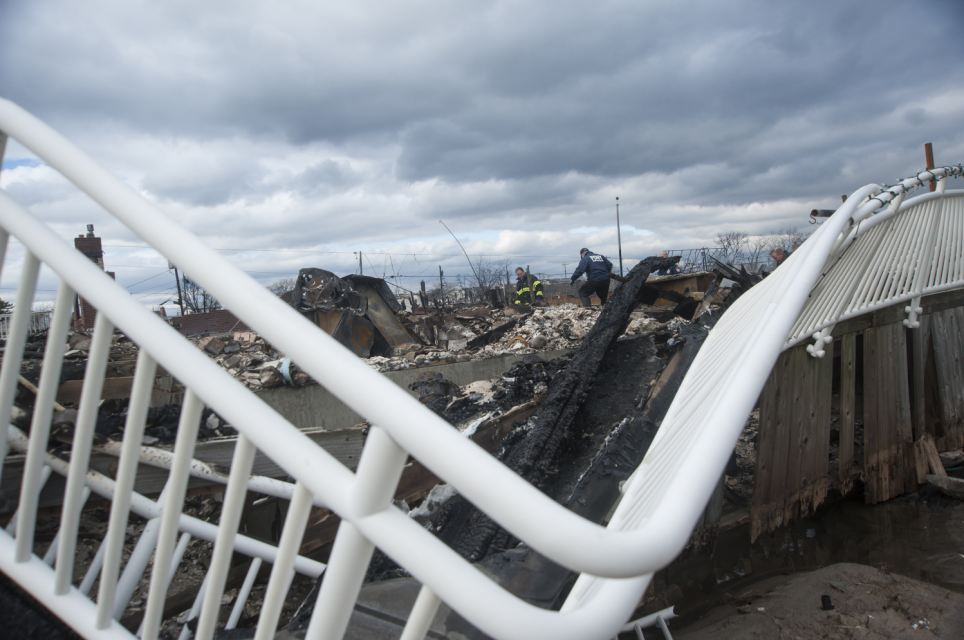 A bent railing caused by Hurricane Sandy in Breezy Point, New York