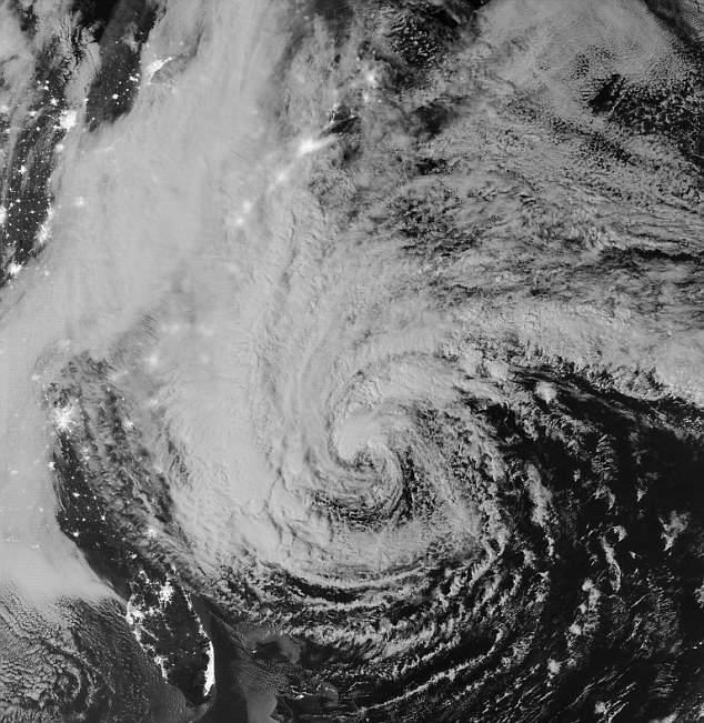 Sandy just hours before it finally made landfall on the US east coast