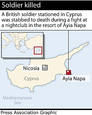 PA graphic locates Ayia Napa, Cyprus, where a British soldier was stabbed to death
