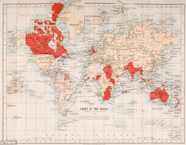British rule: A map of the world shows in red the extent of the British Empire in 1901 but a new study has found the Empire's global reach was underestimated and that almost 90 per cent of the world's countries have been invaded by Britain