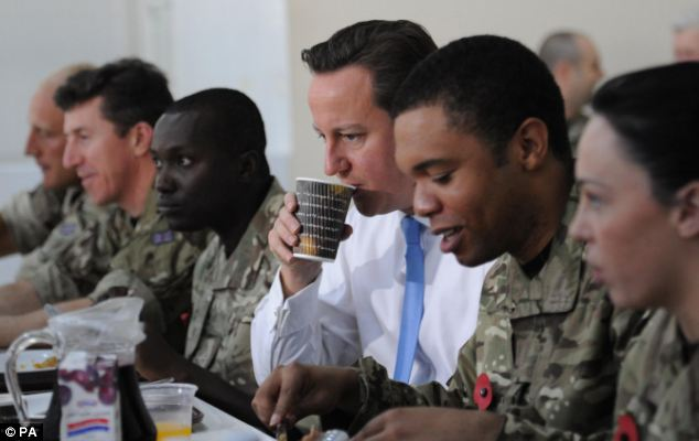 Mr Cameron joined RAF teams for breakfast before embarking on a series of trade talks hoping to secure deals for UK firms