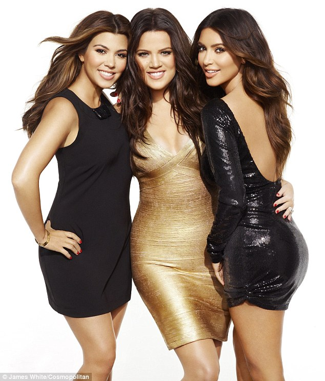 Body confidence: (L-R) Kourtney, Khloe and Kim Kardashian talk about their figures in the December issue of Cosmopolitan