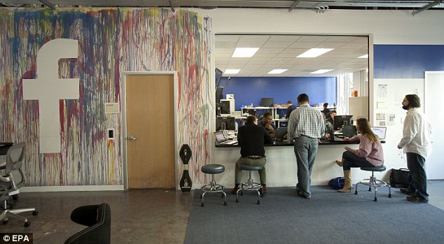 Inside look: Facebook employees at work inside the company's headquarters.