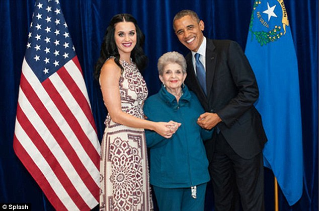 Happy voting: Katy Perry shared this touching photograph with her grandmother and President Obama