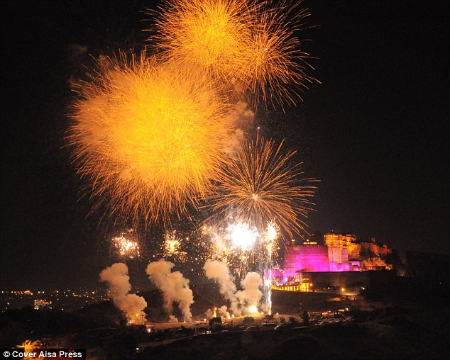Test run: Fireworks light up the sky ahead of the lavish 50th birthday party