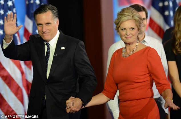 Leaving: Mitt Romney and his wife Ann walk off stage after Romney's humble concession speech where he wished President Obama all the best