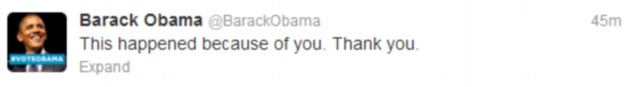 Thank you: This tweet from President Obama quickly became the most popular ever