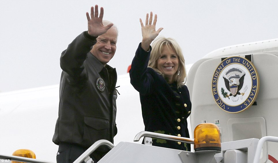 Working toward compromise: Joe Biden, pictured on Wednesday with his wife Jill outside Air Force Two, told reporters that he and Obama are anxious to move forward on a bipartisan solution to the 'fiscal cliff,' but a compromise will hinge on Republicans