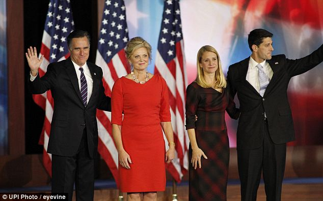 It's over: Mitt Romney announced that he conceded the race to President Obama and stood on stage with his wife Ann, Paul and Janna Ryan