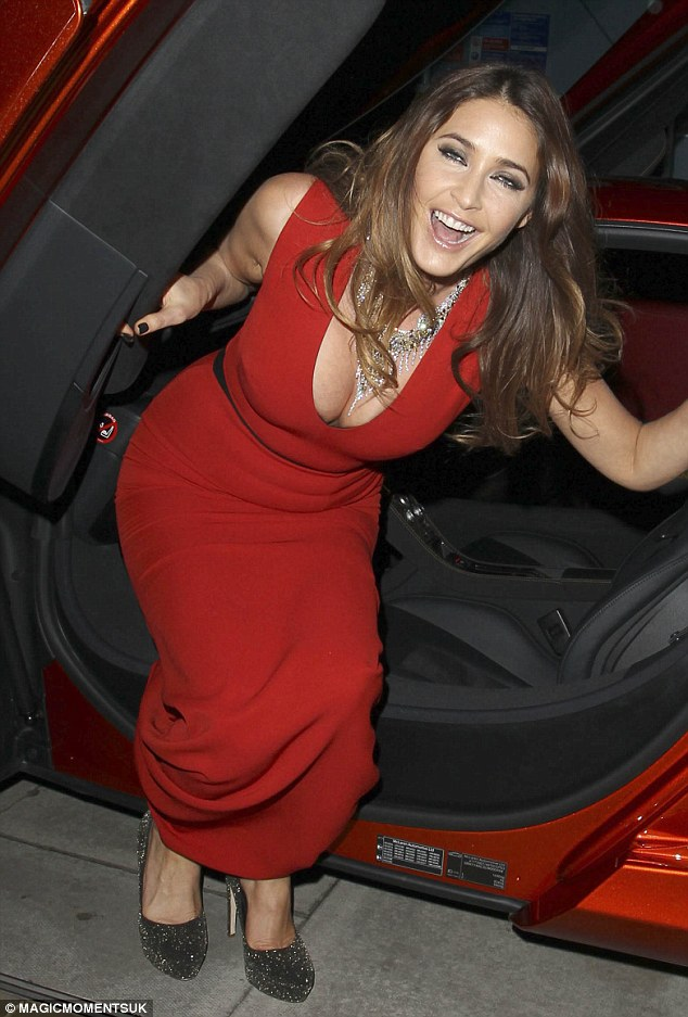 Good sport: Lisa Snowdon stumbles out of her impressive ride as she attends a launch party in Mayfair