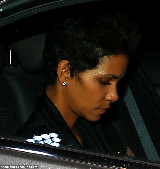 Sombre: Halle Berry was seen looking sullen as she headed home on Friday after a judge reportedly ruled she is not allowed to move daughter Nahla to France