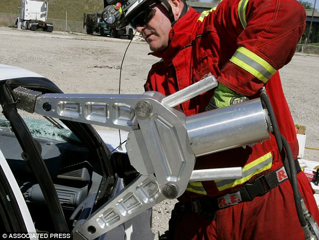 Crushed: Paramedics and doctors had to use a miniature version of the Jaws of Life to cut through the meat grinder.