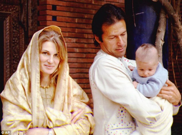 Socialite: Imran Khan, pictured holding his newborn son Sulaiman in 1997, used to be a frequent visitor to nightclubs in Chelsea
