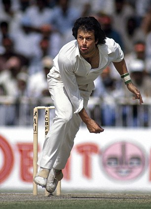 In his cricketing heyday: Imran Khan bowling for Pakistan, in Sharjah, 1991