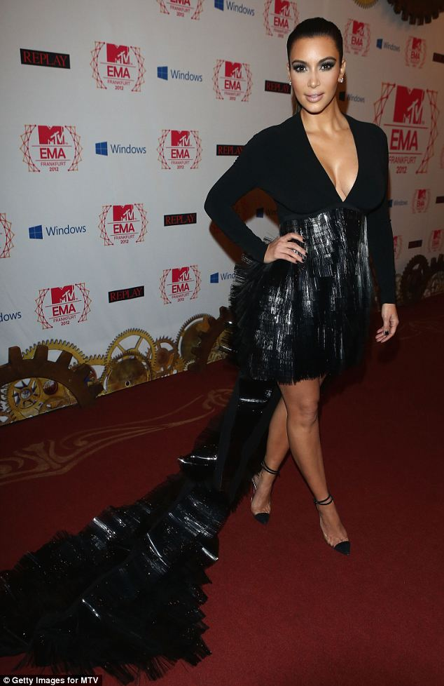 Train: Kim Kardashian wore a dress with a bizarre train