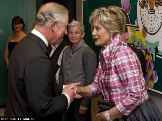 Royal encounter: Prince Charles meets Dame Kiri Te Kanawa at a Diamond Jubilee Trust reception during the last leg of their tour marking Queen Elizabeth II's diamond jubilee