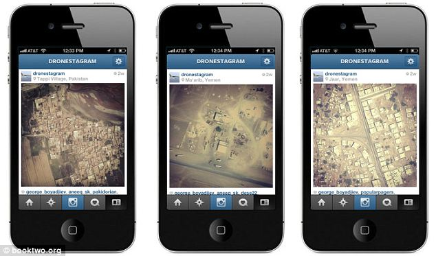 Dronestagram: The service posts images of the locations of drone strikes from Google Maps Satellite view to Instagram along with short summaries of what's there