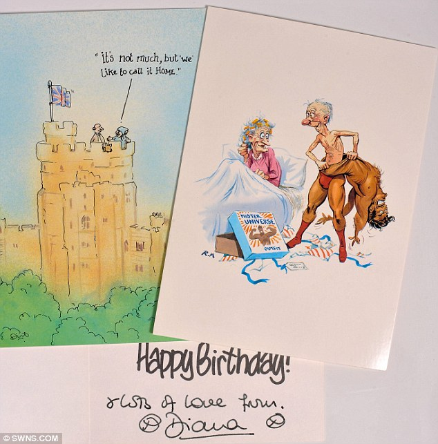 A humorous birthday card to Fay Appleby inscribed and signed - 'From Diana' is expected to fetch £200 - 300