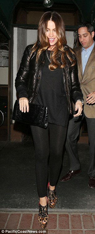 Don't trip! The 40-year-old actress barely manages to stay upright in the leopard print and lace stilettos