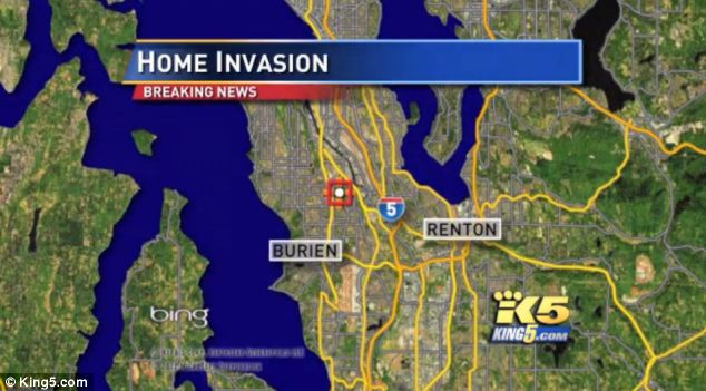 Frightening: The couple were accosted at their home in Burien, Washington, while a child slept in another room