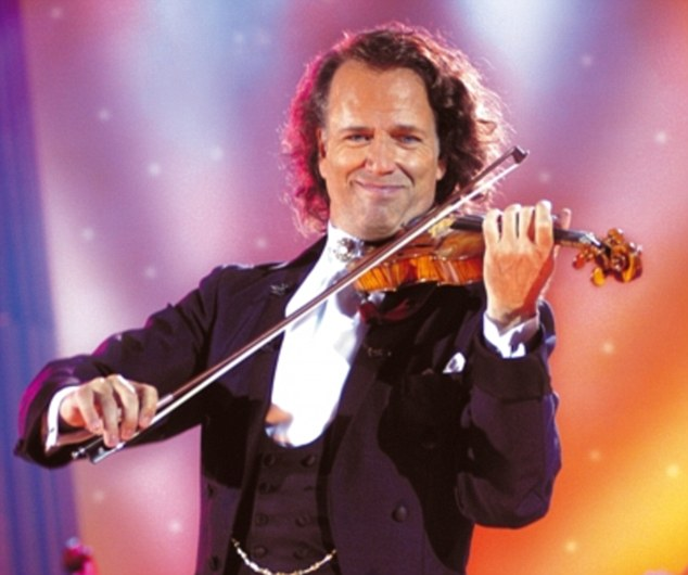 Showman: Andre Rieu dazzles the audience during a performance on Sunday's Strictly Come Dancing