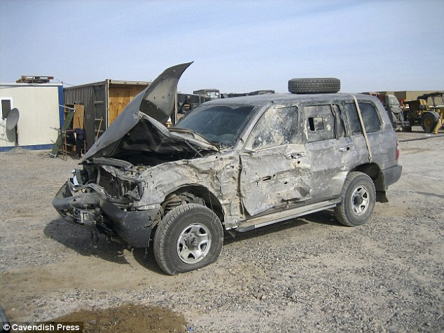 Aftermath: Mr De Souza's jeep was severely damaged by the blast in Iraq five years ago