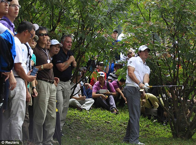 Struggles: Rory McIlroy found himself off the beaten track in the first round of the Hong Kong Open