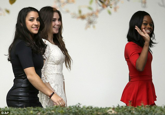 Fierce Five: Looking their glamorous best, the 2012 Women's Olympic gymnastics team visited the White House for the first time earlier today for a private meeting with the President