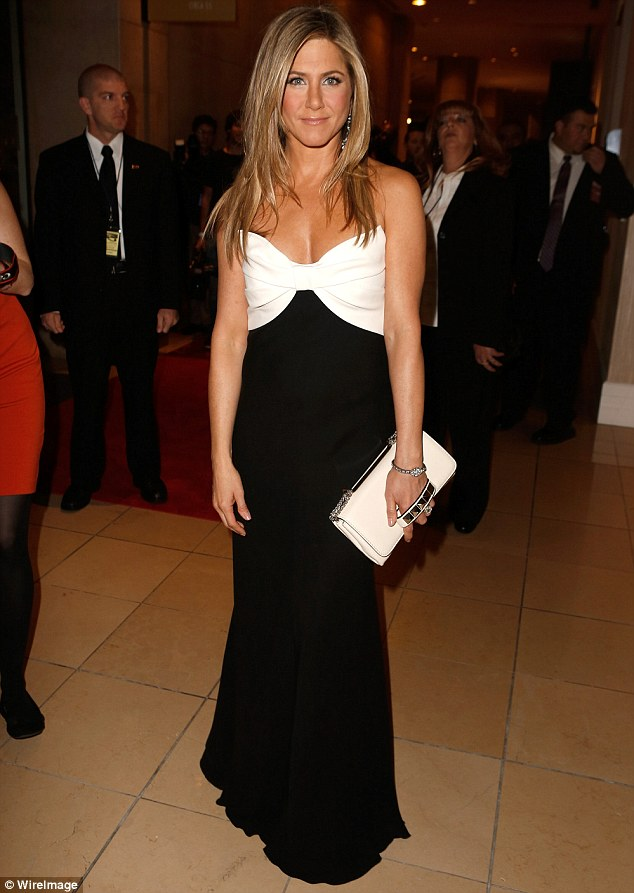 Hitting the style mark: Jennifer Aniston wore an elegant black and white strapless dress at the 26th American Cinematheque Award Gala honouring Ben Stiller at The Beverly Hilton Hotel in Beverly Hills, California on Thursday