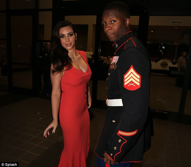 Thank you: Kardashian thanked the marines for inviting her and their service to the country, 'Thank you for all that you do'