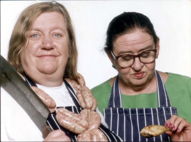 Two Fat Ladies presenters Clarissa Dickson Wright, left, and the late Jennifer Patterson, who died in 1999