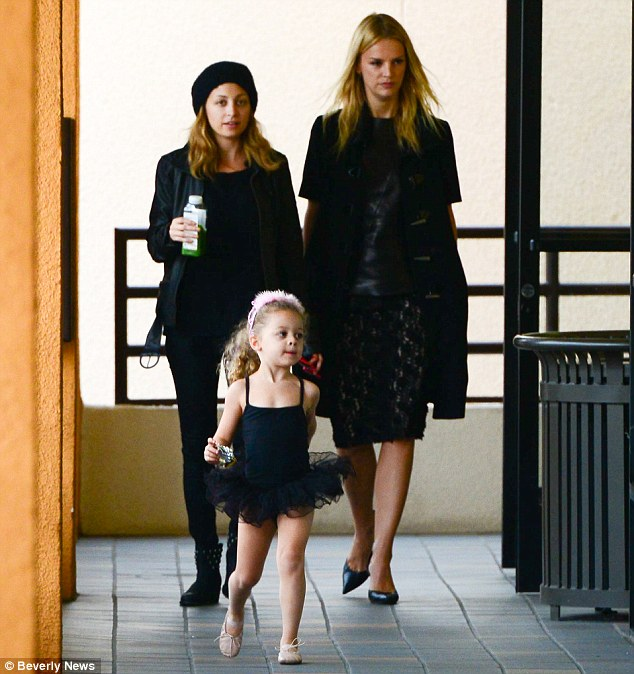 Hurry up Mummy! Nicole brought a girl pal along with her while husband Joel Madden had a morning off from daddy duties