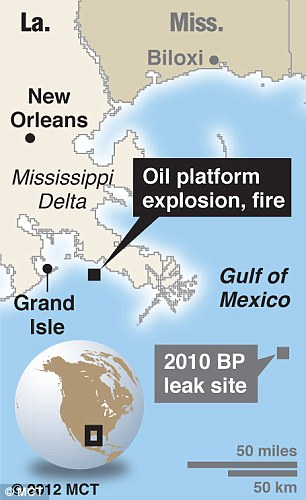 Blast site: Map locating the site of an oil rig fire off the coast of Louisiana; includes location of 2010 BP oil leak and fire