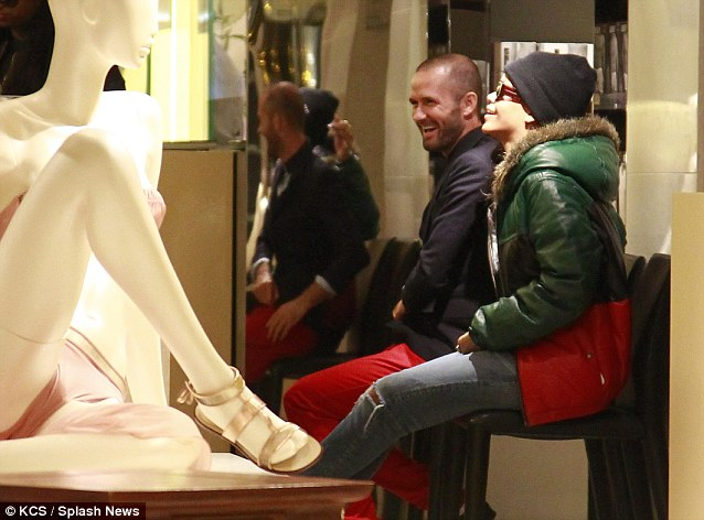 Break time: At one point Rihanna sat down to rest during the shopping trip