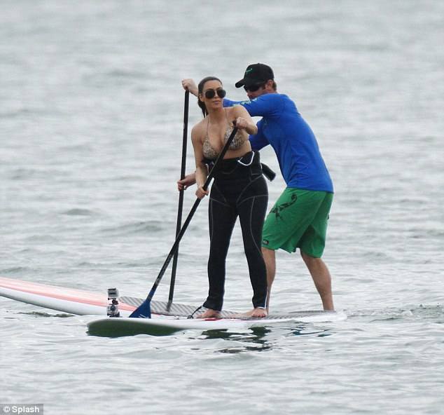 Close call: Kim and her friend almost collided as they paddled around