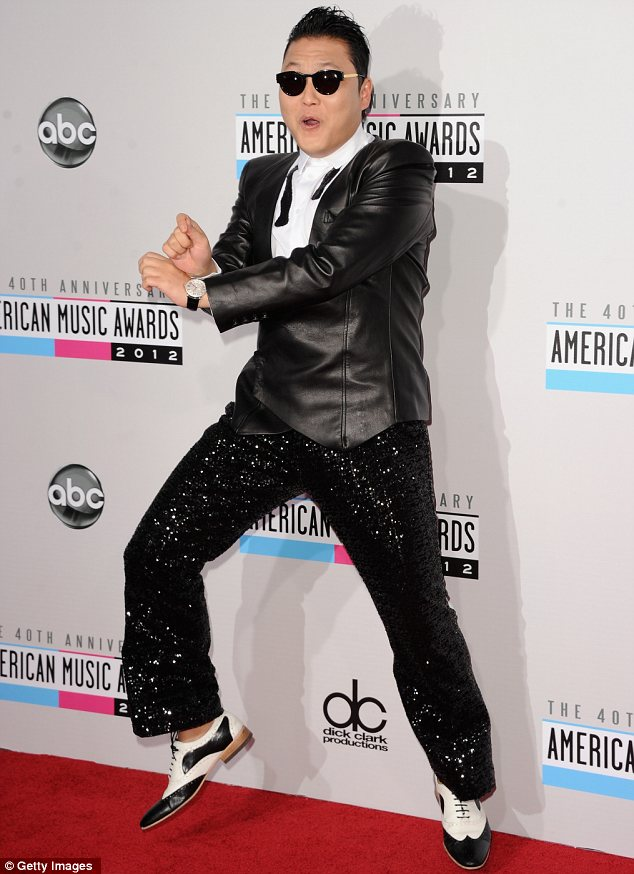 Gangnam style: Psy was in a lively mood from the moment he arrived and performed the dance he made famous