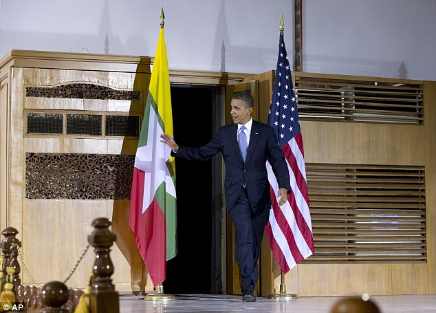 Ready: Obama arrives to speak at Yangon University in Yangon, Myanmar during the six-hour trip