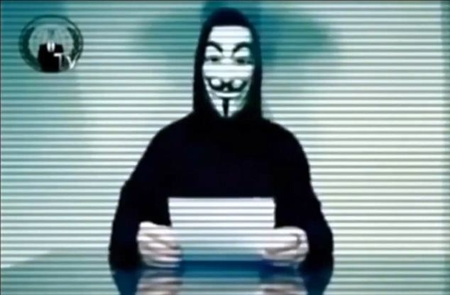 'Cyber war has been declared on Israel cyber space': A grab from a YouTube video uploaded by Anonymous in which the collective calls on members to target Israeli websites and networks