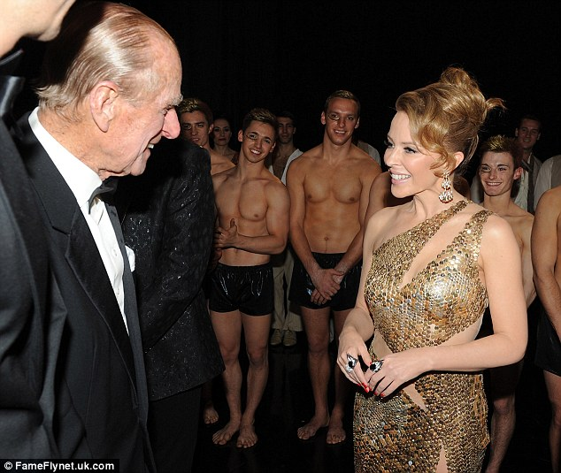 Jokes all round: Prince Philip and Kylie Minogue seemed to be somewhat tickled as they chatted away