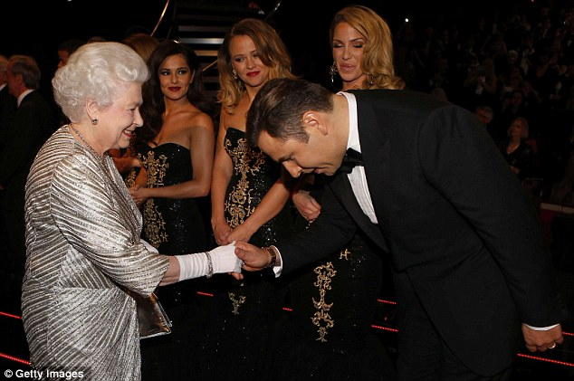 Funnyman: After meeting Girls Aloud, the Queen moved on to comedian David Walliams