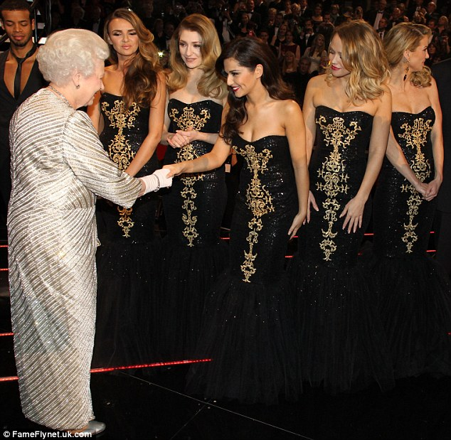 From one member of royalty to another: Queen Elizabeth II met pop royalty in the form of Cheryl Cole and Girls Aloud following the Royal Variety Performance on Monday night
