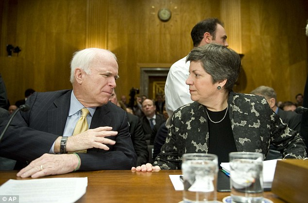 Reinforcing ties: Homeland Security Secretary Janet Napolitano (pictured, right, with Senator John McCain) did not reportedly deny the cyber attack, but insisted France was a 'partner and ally'