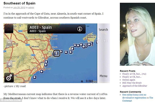 Tracked: His online blog featured a photograph of Murray and a map charting his progress across Europe