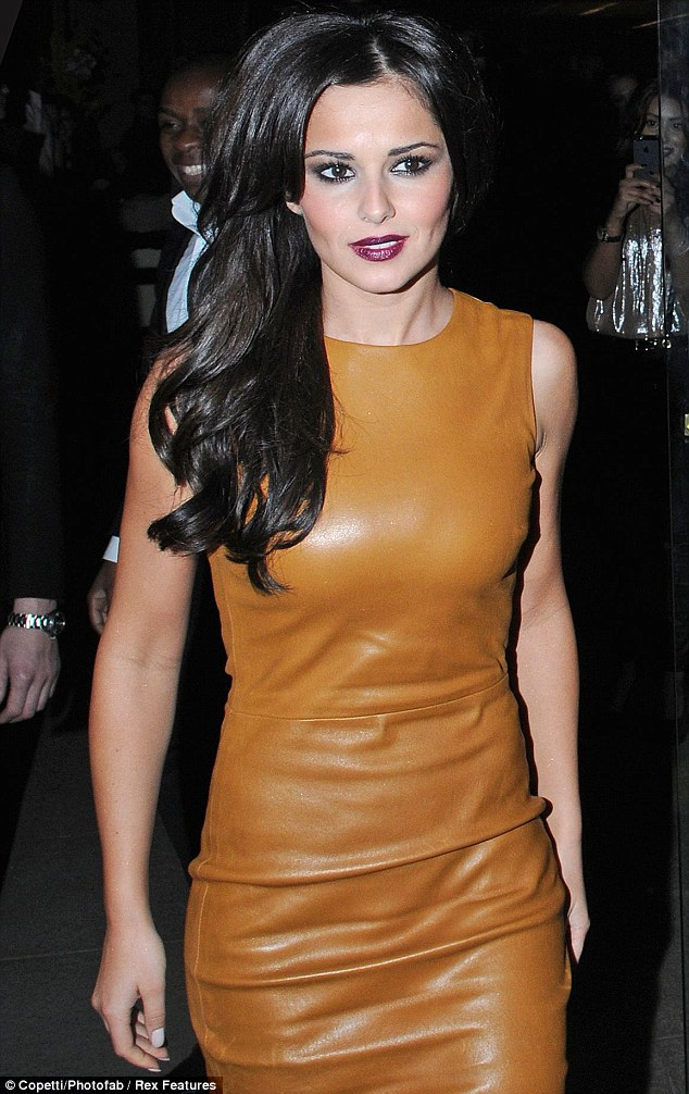 Birthday girl: Cheryl's nude leather look was bound to upstage the birthday girl
